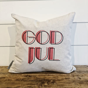 Nordic Christmas God Jul Pillow Cover (Red) - Linen and Ivory