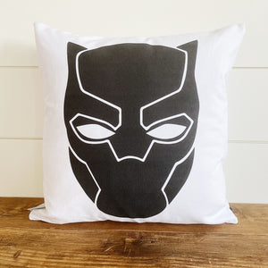 Black Panther Superhero Pillow Cover (Design 1) - Linen and Ivory