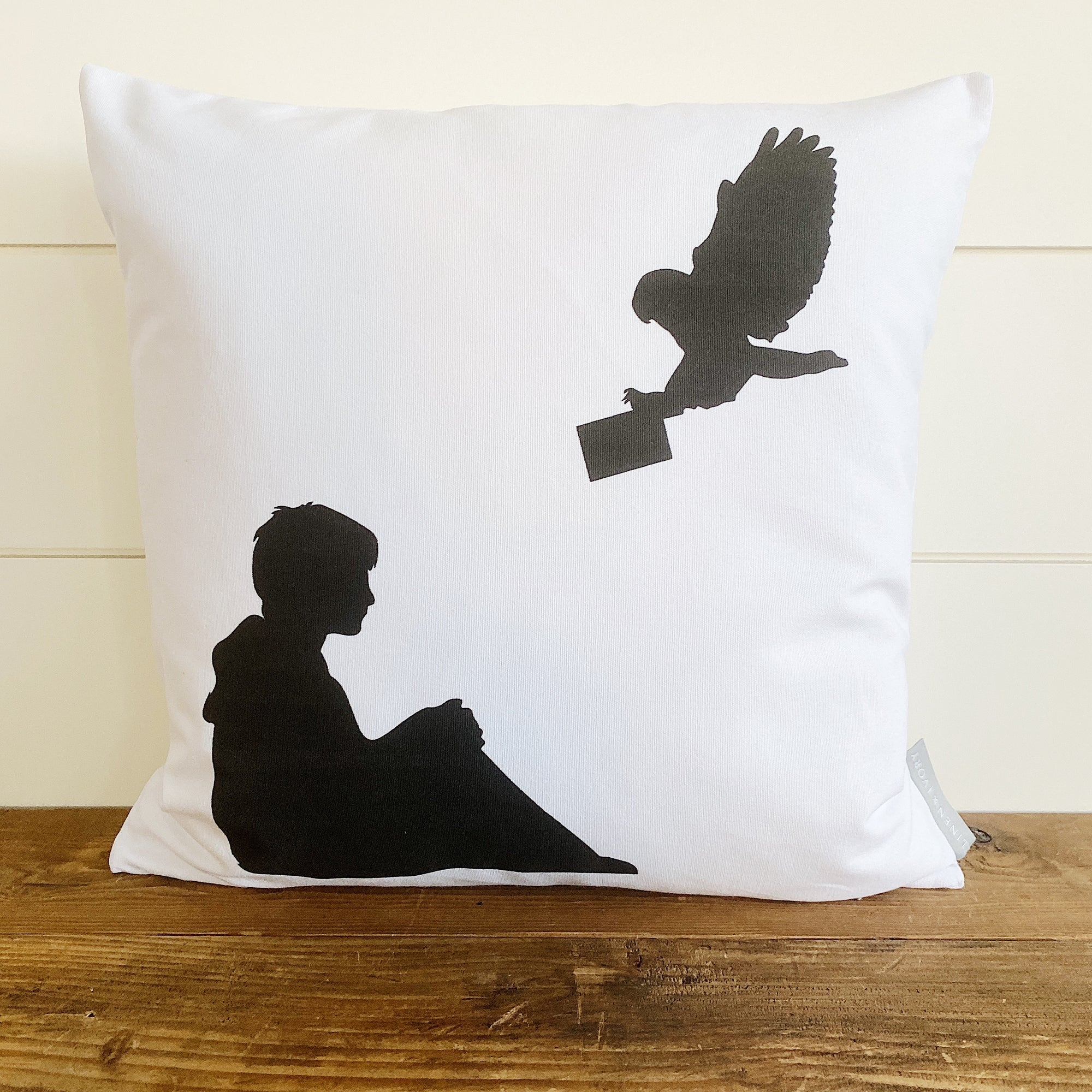 Harry Potter & Hedwig Pillow Cover - Linen and Ivory