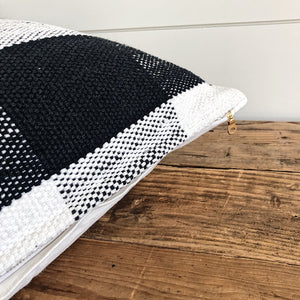 """Avery"" Woven Pillow Cover (Black Buffalo Plaid) - Linen and Ivory"