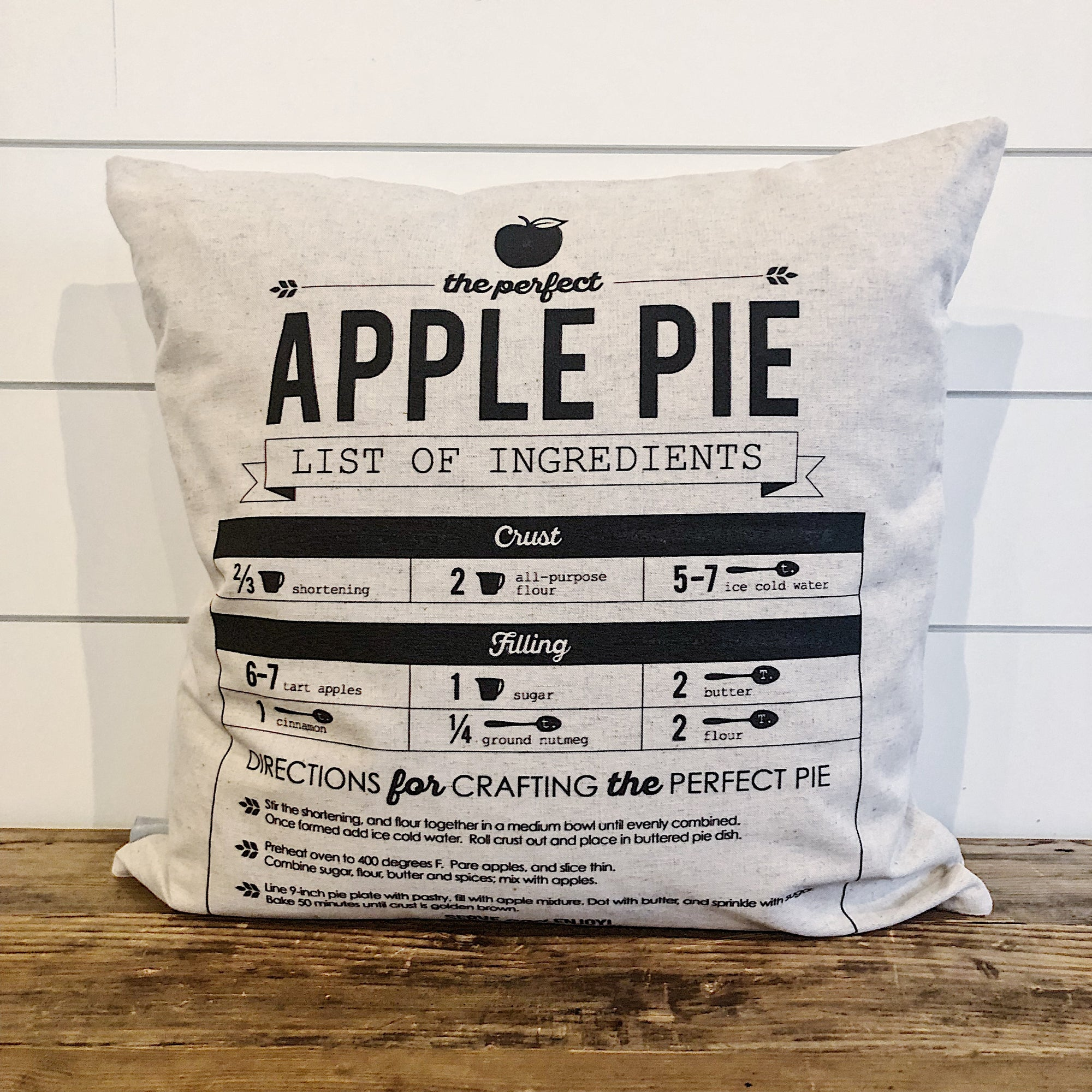 Apple Pie Pillow Cover - Linen and Ivory