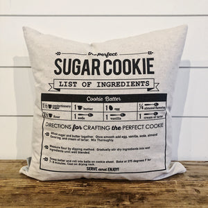 Sugar Cookie Recipe Pillow Cover - Linen and Ivory