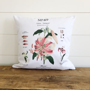 Stargazer Lily Botanical Pillow Cover - Linen and Ivory