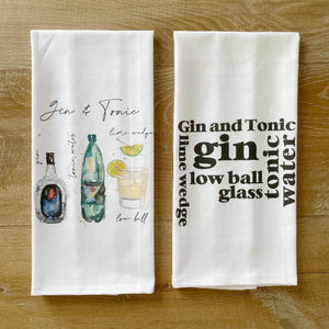 Gin & Tonic Tea Towel - Linen and Ivory