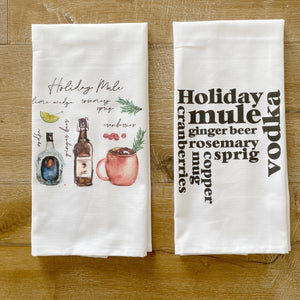 Holiday Mule Tea Towel - Linen and Ivory