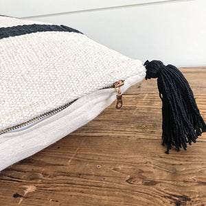 """Beau"" Woven Pillow Cover (Black) - Linen and Ivory"