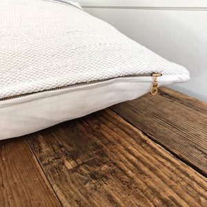 """Evelyn"" Woven Pillow Cover - Linen and Ivory"