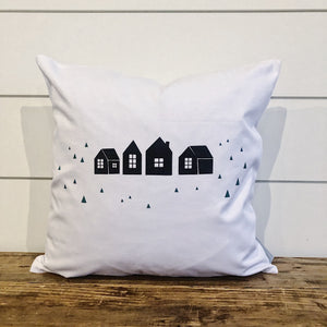 Vintage Houses Pillow Cover (Green & Black) - Linen and Ivory