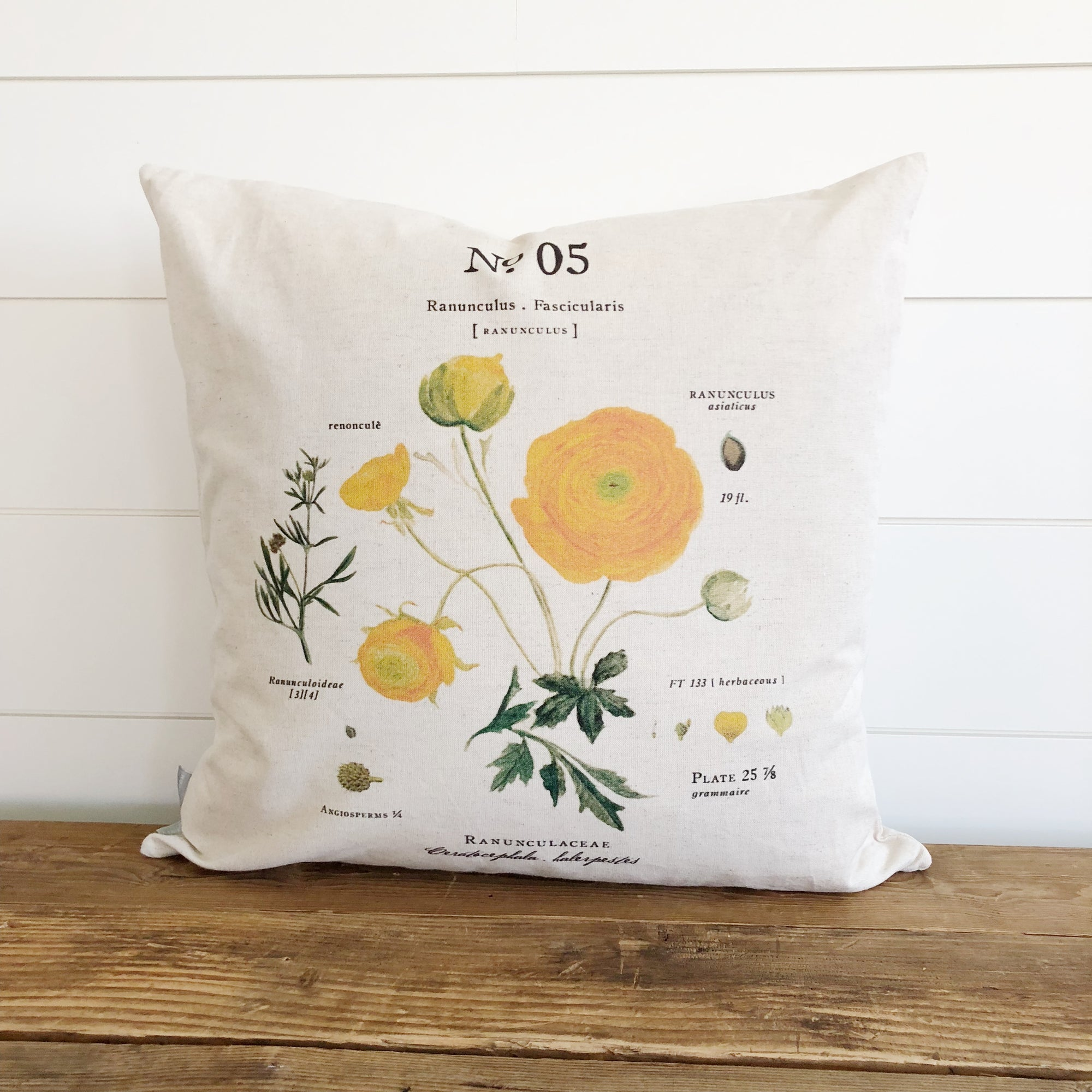Ranunculus Botanical Pillow Cover - Linen and Ivory