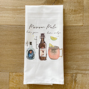 Moscow Mule Watercolor Tea Towel - Linen and Ivory