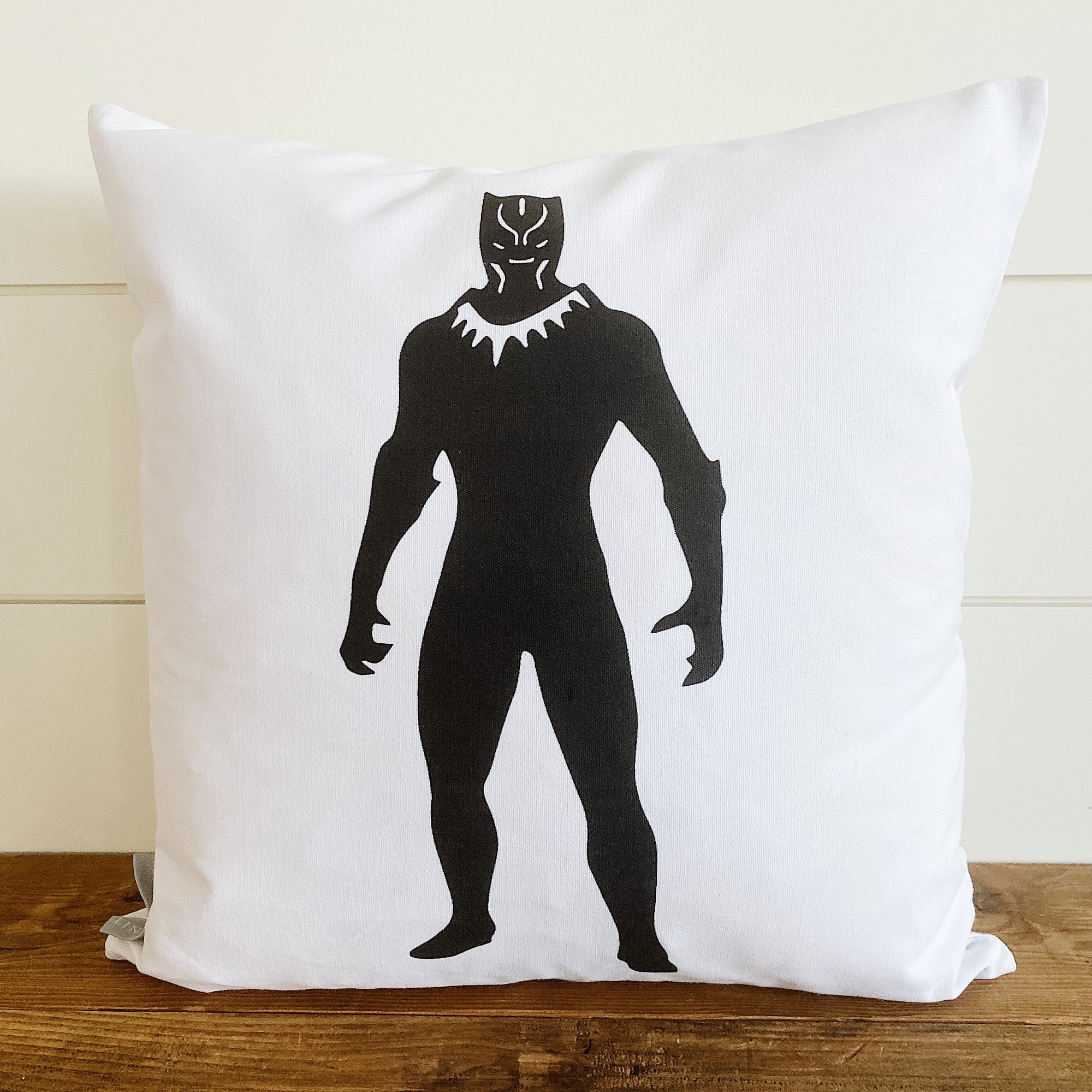 Black Panther Superhero Pillow Cover (Design 3) - Linen and Ivory