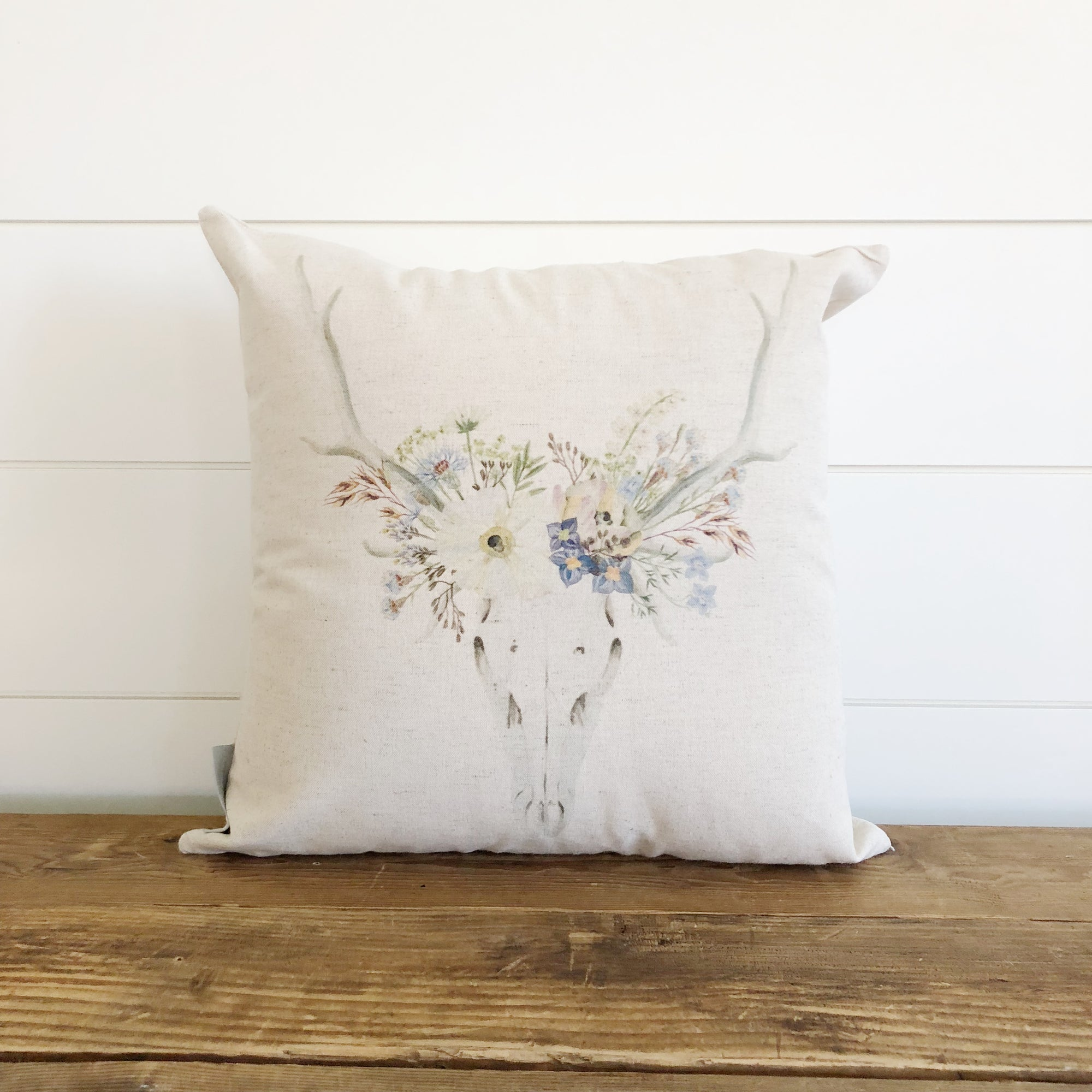 Wildflower Deer Pillow Cover - Linen and Ivory