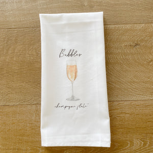 Watercolor Champagne Tea Towel - Linen and Ivory