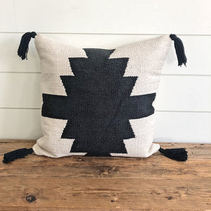 """Brynley"" Woven Pillow Cover (Black) - Linen and Ivory"