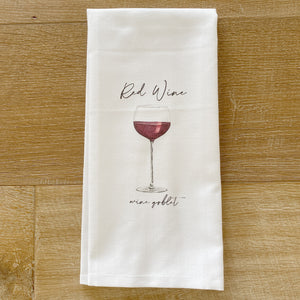 Watercolor Red Wine Tea Towel - Linen and Ivory