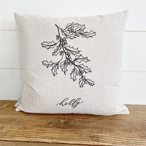 Holly Calligraphy Pillow Cover - Linen and Ivory
