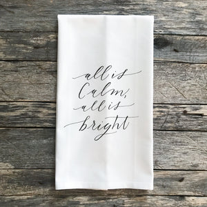 All is Calm All is Bright Tea Towel - Linen and Ivory