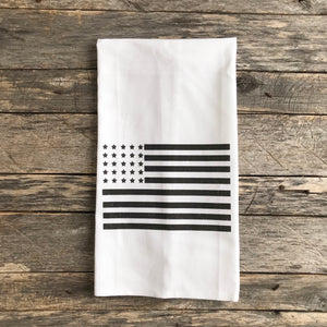 American Flag Tea Towel (Black) - Linen and Ivory