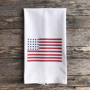 American Flag (Color) Tea Towel - Linen and Ivory