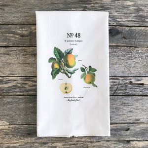 Apple Botanical Tea Towel - Linen and Ivory