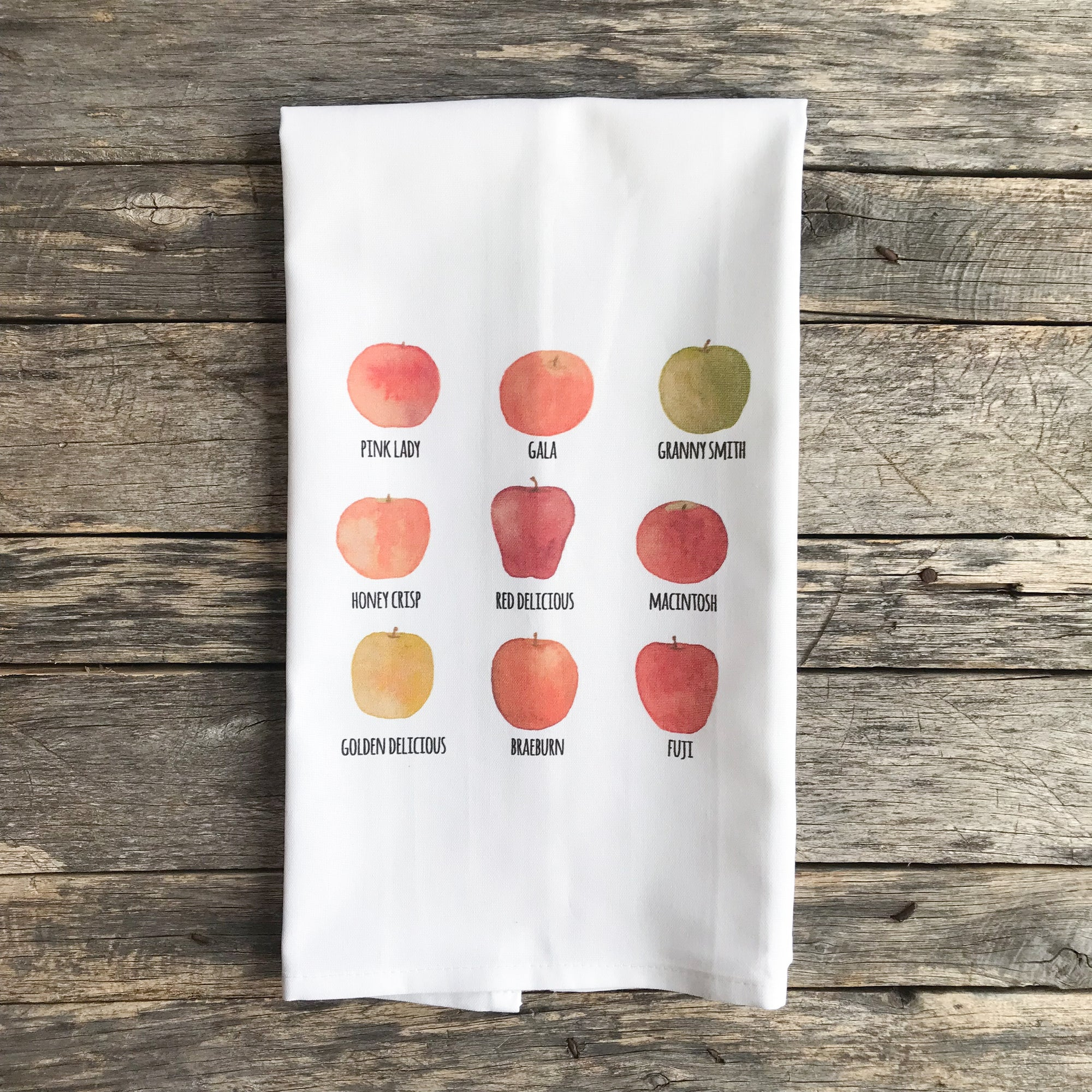 Watercolor Apples Tea Towel - Linen and Ivory