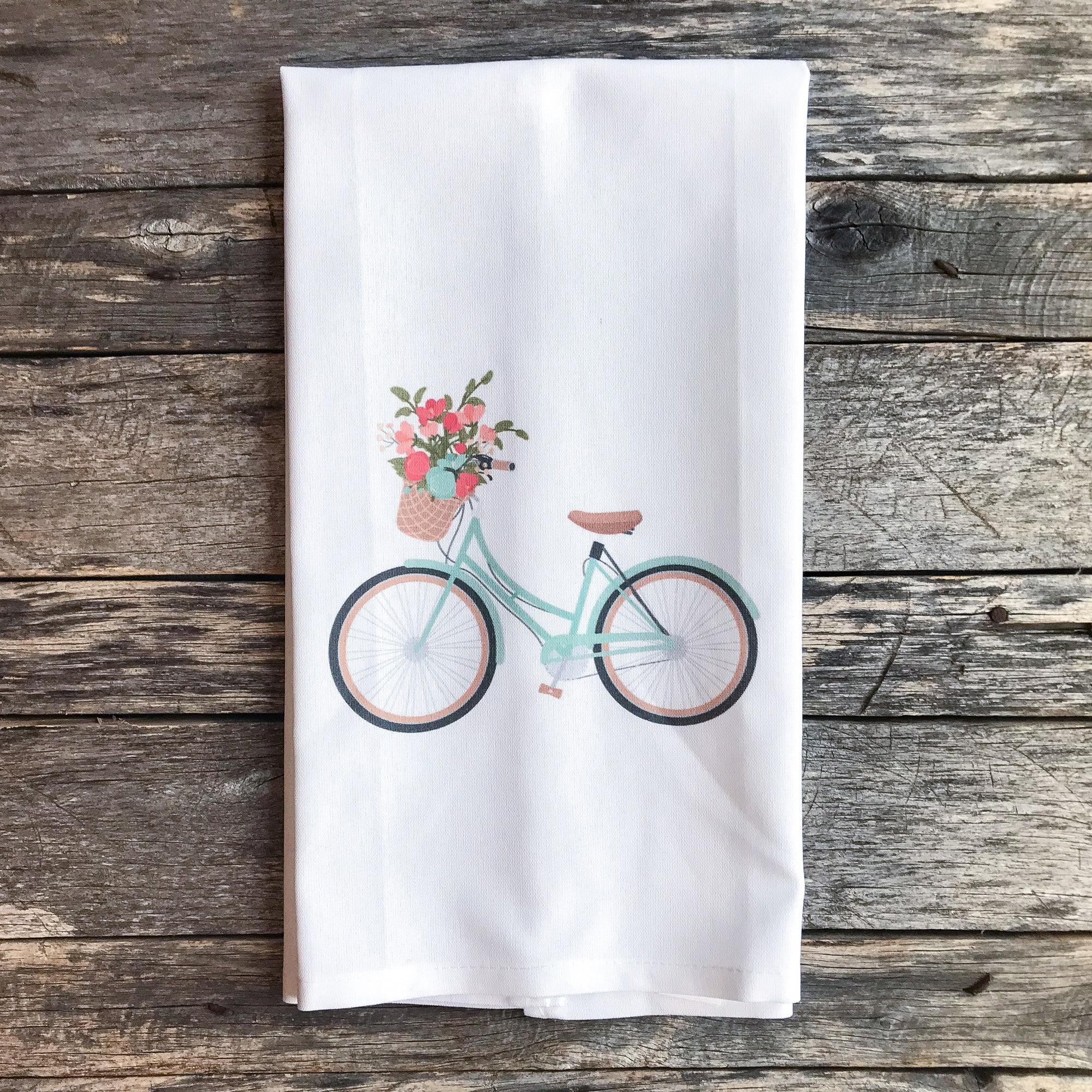 Aqua Bike Tea Towel - Linen and Ivory