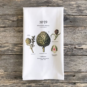 Artichoke Botanical Tea Towel - Linen and Ivory
