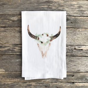 Aztec Cow Tea Towel (Holiday) - Linen and Ivory