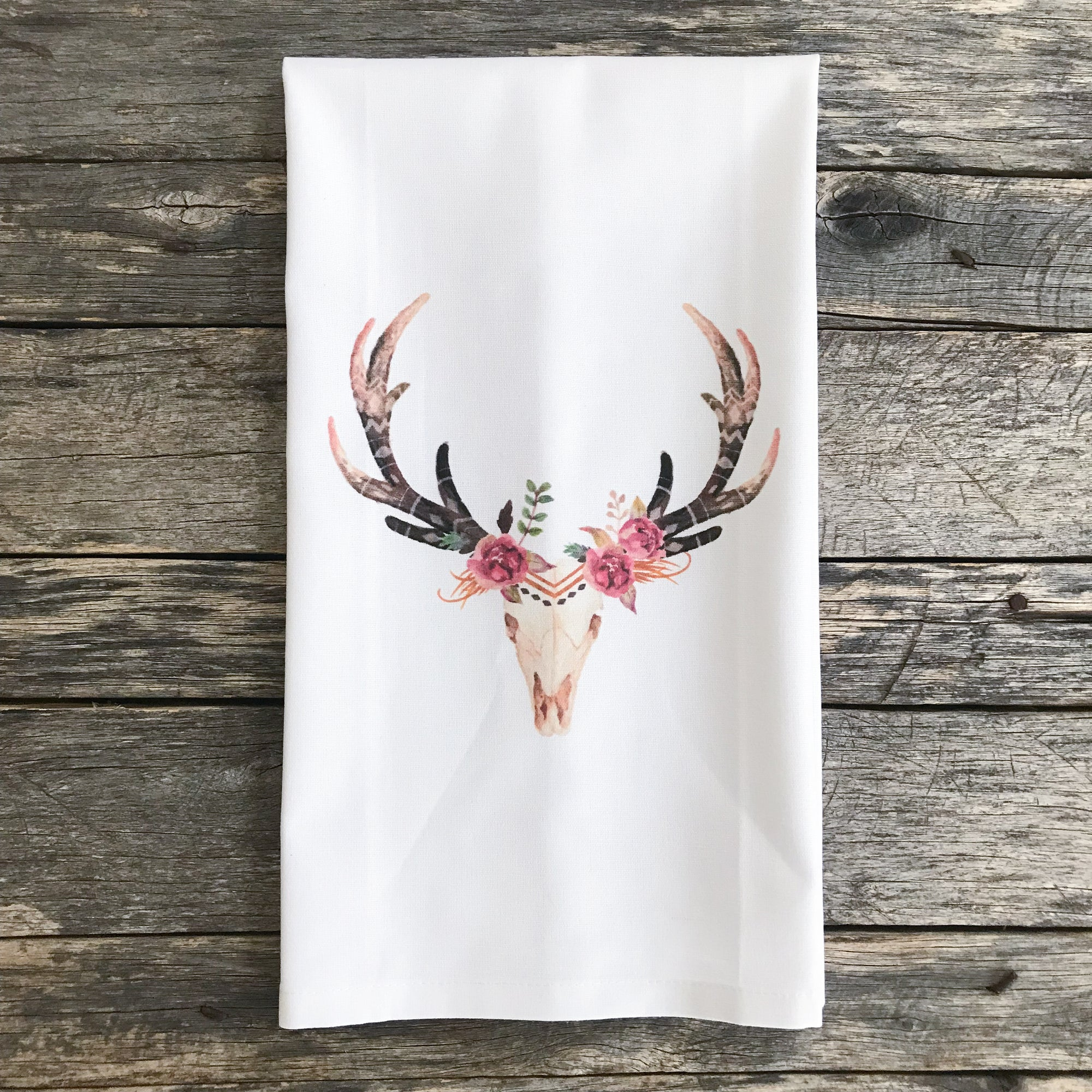 Aztec Deer Tea Towel (Floral) - Linen and Ivory