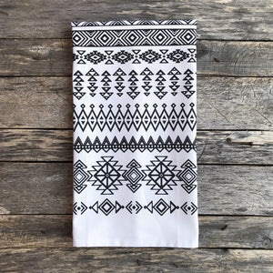 Aztec Tea Towel (Design 9) - Linen and Ivory