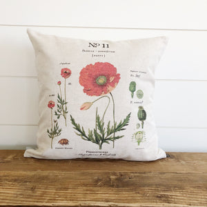 Poppy Botanical Pillow Cover - Linen and Ivory