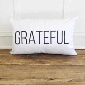 Grateful Pillow Cover - Linen and Ivory