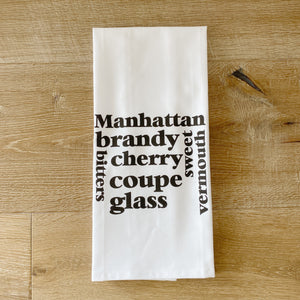 Manhattan Tea Towel - Linen and Ivory