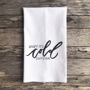 Baby It's Cold Outside (Design 1) Tea Towel - Linen and Ivory