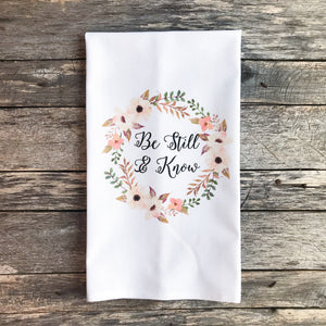 Be Still and Know Tea Towel - Linen and Ivory