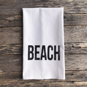 Beach Tea Towel - Linen and Ivory