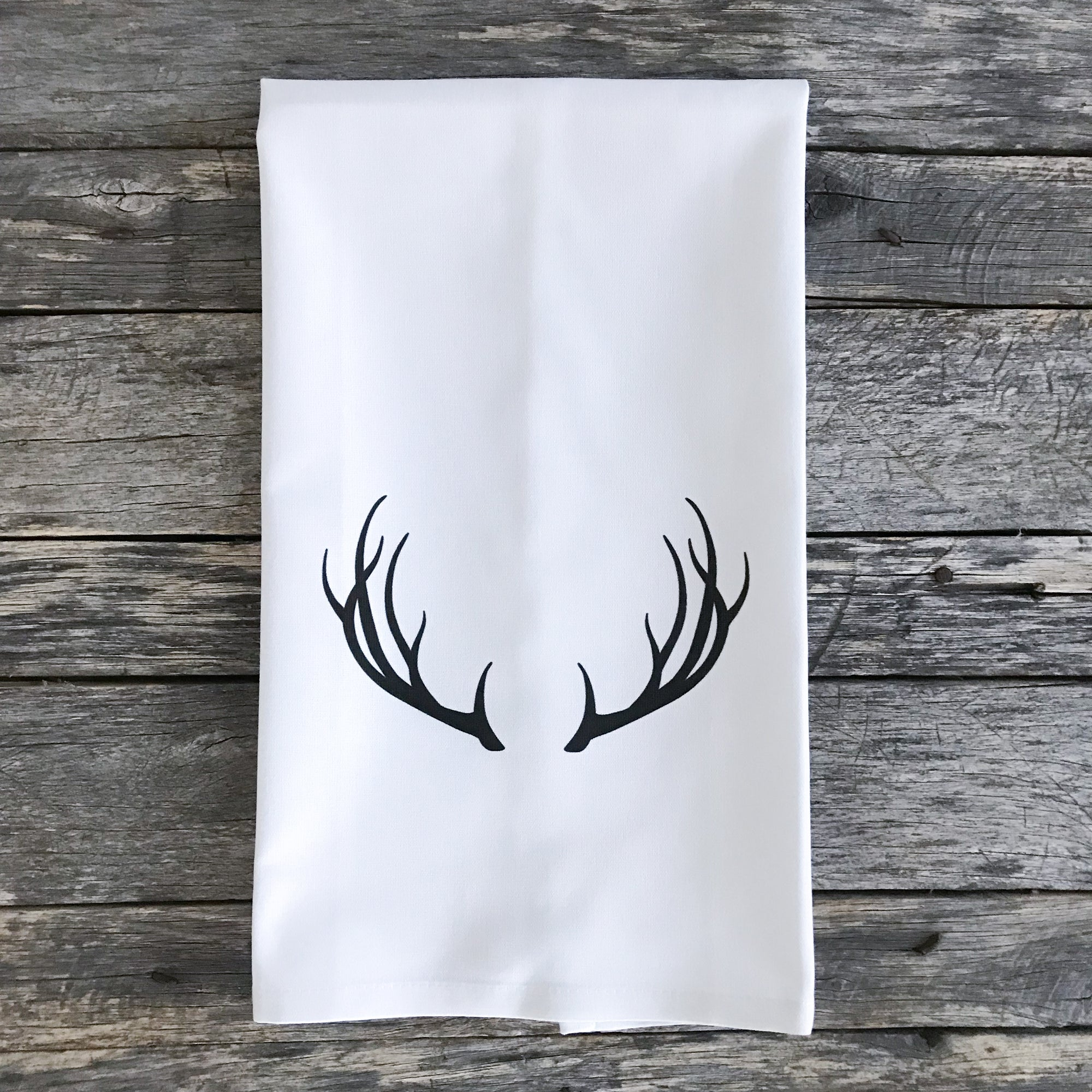 Black Antlers Tea Towel - Linen and Ivory