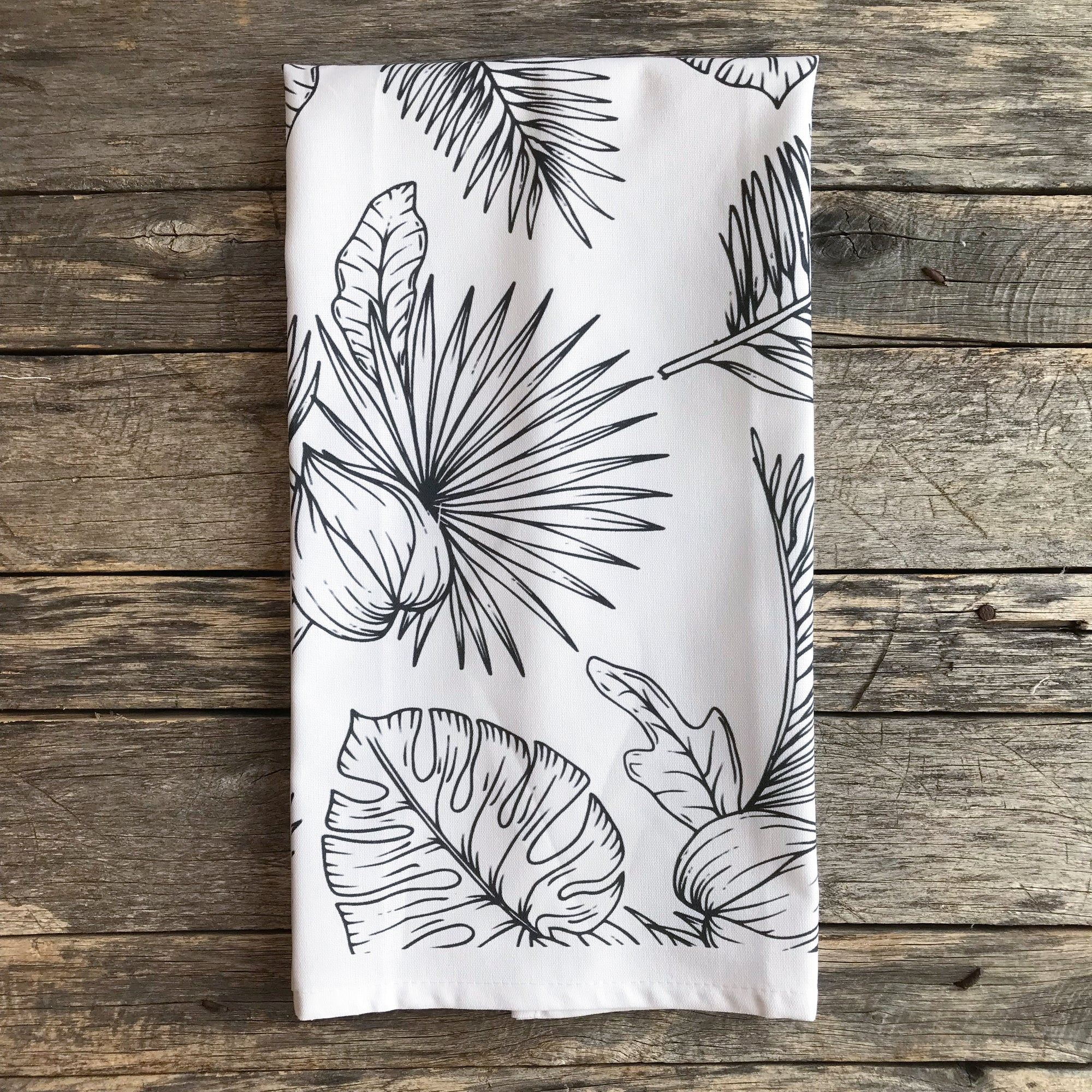 Black & White Palm Tea Towel (Design 1) - Linen and Ivory