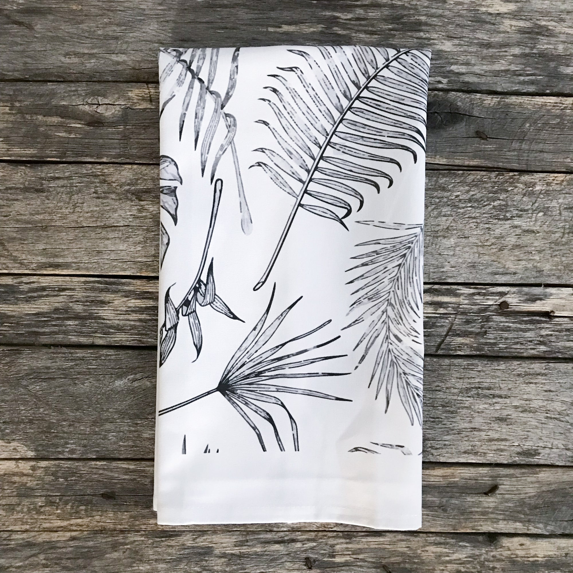 Black & White Palm Tea Towel (Design 2) - Linen and Ivory