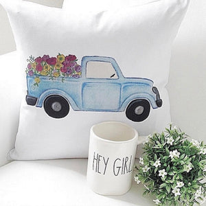 Blue Truck Pillow Cover - Linen and Ivory