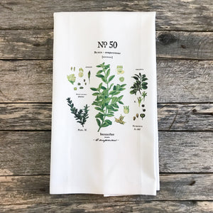 Boxwood Botanical Tea Towel - Linen and Ivory