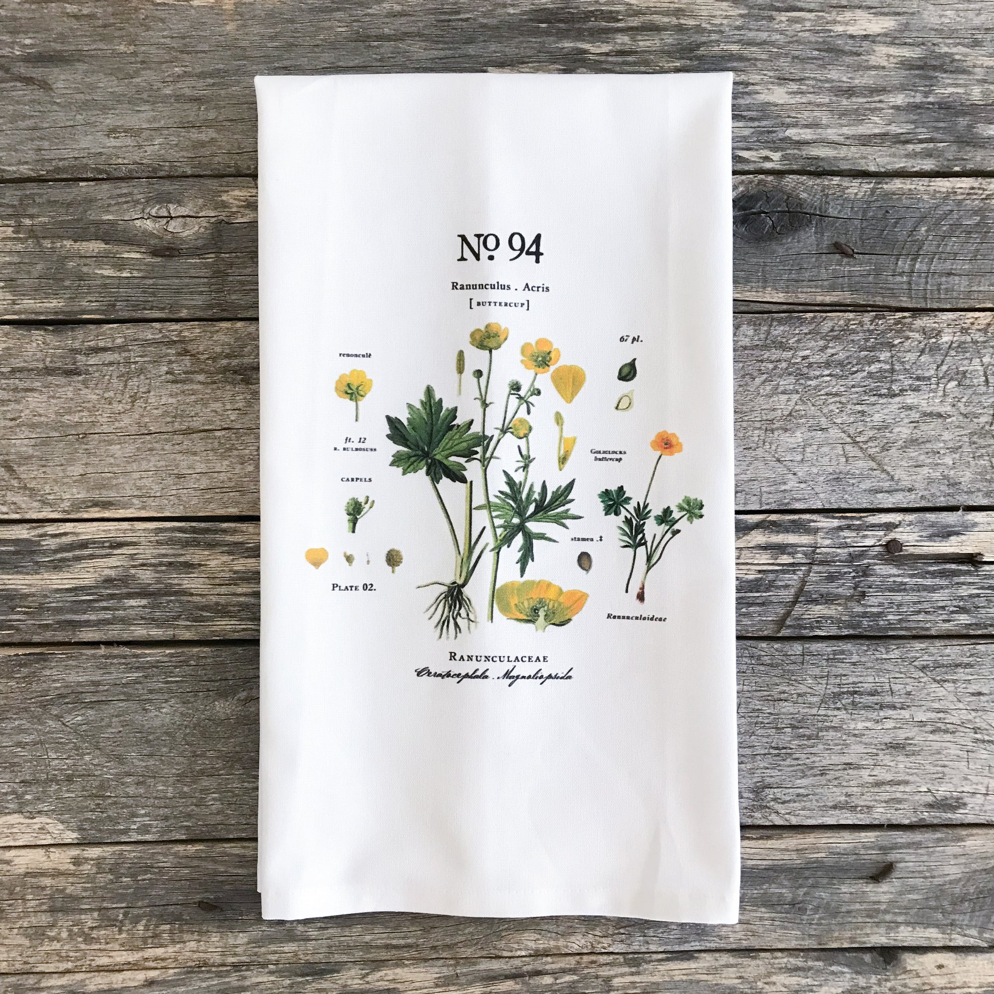 Buttercup Botanical Tea Towel - Linen and Ivory