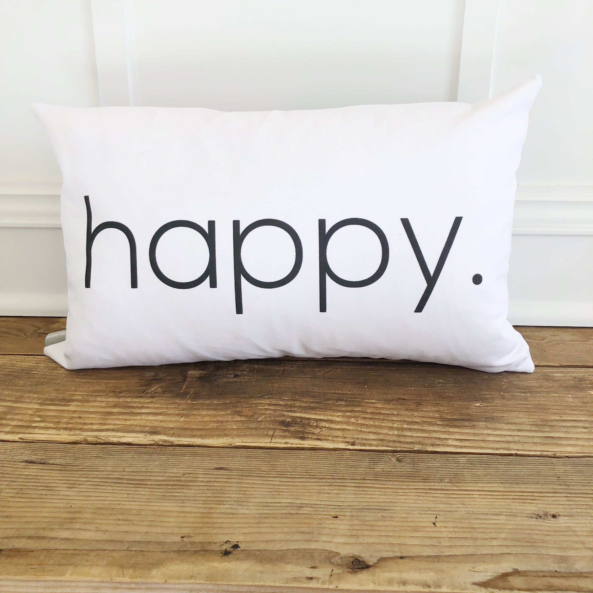 Happy Pillow Cover - Linen and Ivory