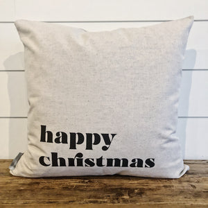 Happy Christmas Pillow Cover - Linen and Ivory