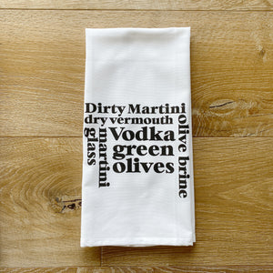 Dirty Martini Words Tea Towel - Linen and Ivory