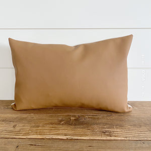 """Easton"" Faux Leather Pillow Cover (Camel)"