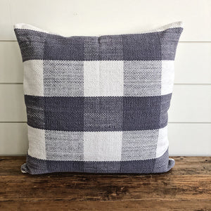 """Charlotte"" Woven Pillow Cover (Gray Buffalo Plaid) - Linen and Ivory"
