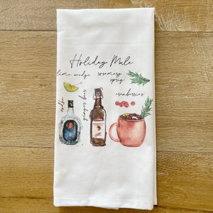 Holiday Mule Watercolor Tea Towel - Linen and Ivory