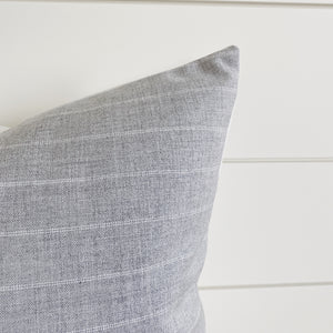 """Crew"" Light Gray & White Striped Indoor/Outdoor Pillow Cover"