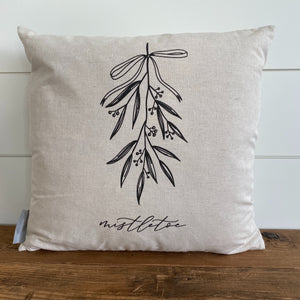 Mistletoe Calligraphy Pillow Cover - Linen and Ivory